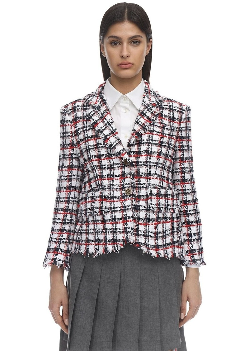 Thom Browne Check Raw Cut Tweed Jacket
