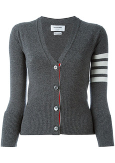 Thom Browne Classic V-Neck Cardigan In Cashmere With White 4-Bar Sleeve Stripe