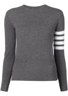 Thom Browne crew neck Pullover With White 4-Bar Stripe In Grey Cashmere