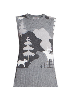 Thom Browne Forest Scenery Intarsia Classic Cashmere Shell Top