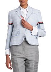 Thom Browne High-Armhole Windowpane Check Tweed Blazer