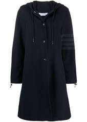 Thom Browne hooded snap front parka with 4-bar in double face tech twill