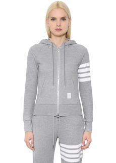 Thom Browne Intarsia Cotton Jersey Zip-up Sweatshirt