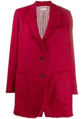 Thom Browne narrow shoulder SB sack jacket with fray in Shetland wool