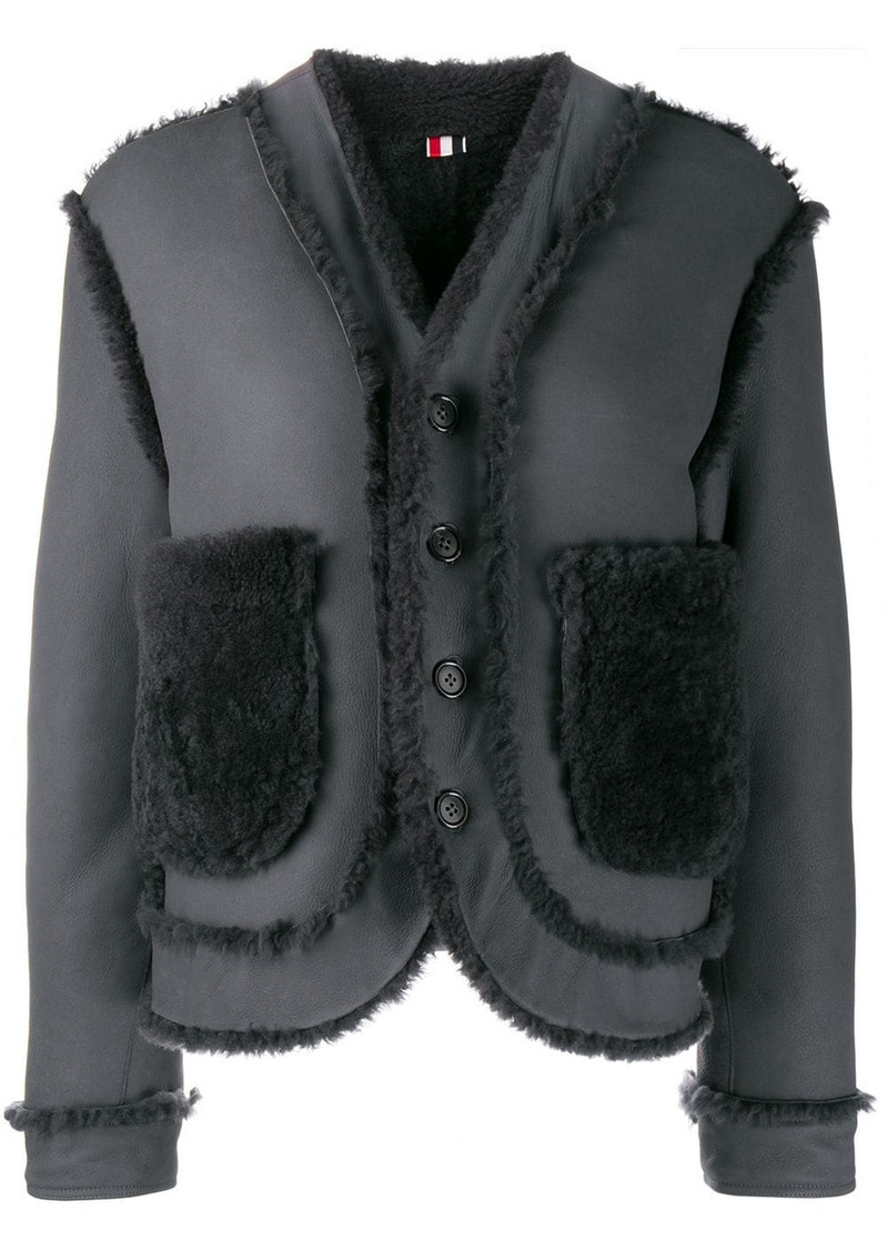 Thom Browne reversible drop-shoulder shearling jacket