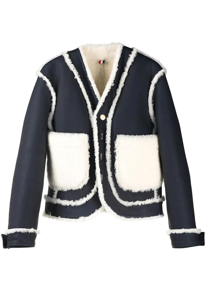Thom Browne reversible shearling drop-shoulder jacket