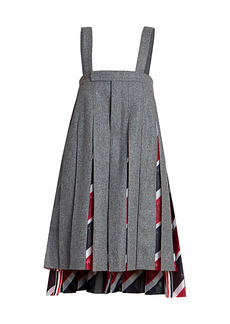 Thom Browne Strapless Pleated Baby Doll Flannel Pinafore Dress