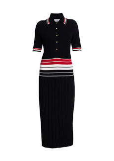 Thom Browne Striped Accordion-Pleat Cotton Polo Dress
