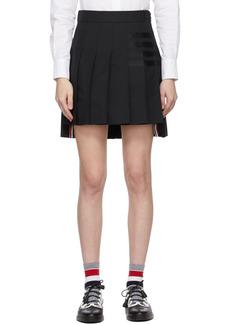Thom Browne Black 4-Bar Dropped Back Pleated Miniskirt