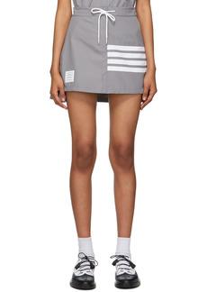 Thom Browne Grey 4-Bar Tech Pleated Miniskirt