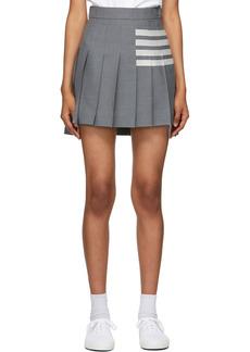 Thom Browne Grey Wool 4-Bar Pleated Miniskirt