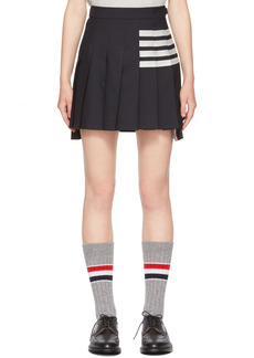 Thom Browne Navy 4-Bar Dropped Back Pleated Miniskirt