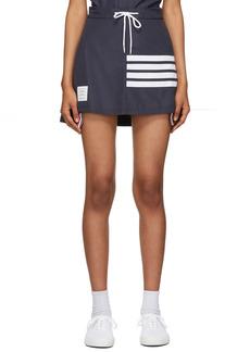 Thom Browne Navy 4-Bar Tech Pleated Miniskirt