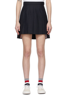 Thom Browne Navy Super 120s Dropped Back Pleated Miniskirt