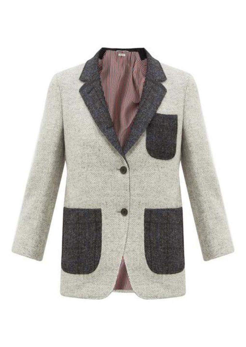 Thom Browne Patch-pocket herringbone wool-tweed blazer