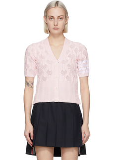 Thom Browne Pink Fan Cable 4-Bar Short Sleeve Cardigan