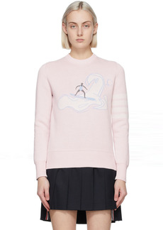 Thom Browne Pink Relaxed Fit 4-Bar Surfer Icon Sweater