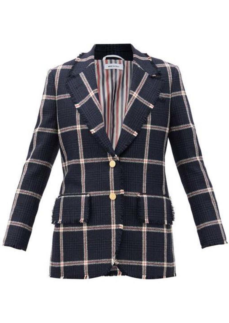 Thom Browne Single-breasted fringed check wool-tweed jacket