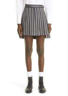 Thom Browne Stripe Pleated High/Low Wool Blend Miniskirt