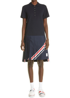 Thom Browne Stripe Polo Pleated Dress
