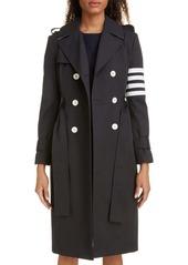 Thom Browne Stripe Sleeve Waterproof Trench Coat