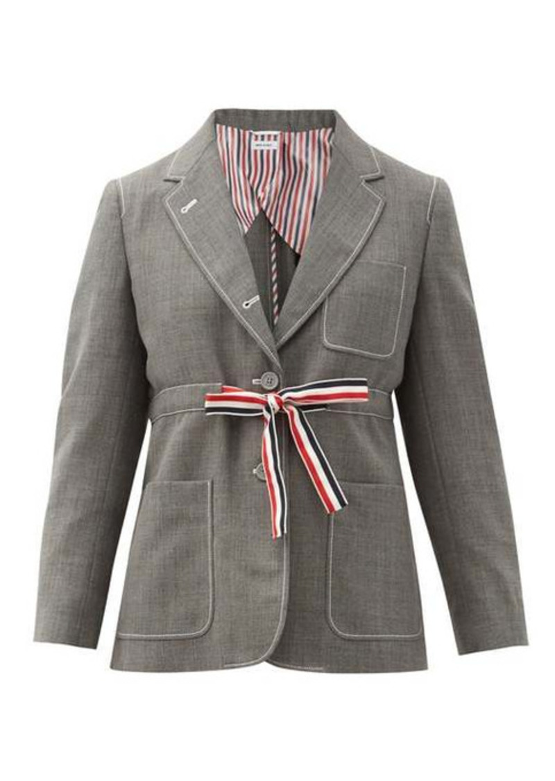 Thom Browne Tricolour-sash wool-fresco suit jacket