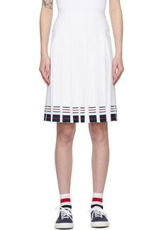 Thom Browne White Box Pleat Double Cricket Miniskirt