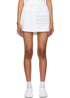 Thom Browne White Flyweight Tech 4-Bar Pleated Miniskirt
