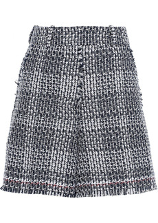 Thom Browne Woman Frayed Cotton-blend Tweed Shorts Navy