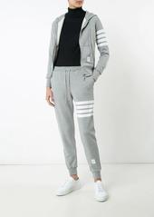 Thom Browne Womens Full Zip Hoodie With Engineered 4-Bar Stripe