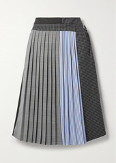 Tibi Layered Pleated Patchwork Crepe Culottes