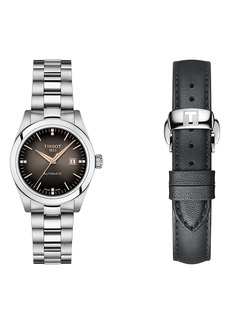 Tissot T-My Diamond Automatic Bracelet Watch & Leather Strap Gift Set, 29.3mm