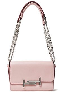 Tod's Woman Double T Mini Leather Shoulder Bag Pastel Pink