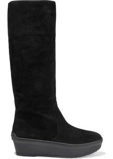 Tod's Woman Suede Platform Knee Boots Black