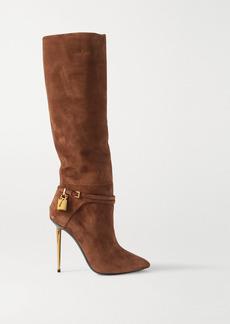 Tom Ford Padlock Embellished Suede Knee Boots