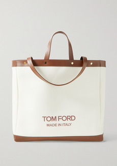 Tom Ford T Screw Shopper Medium Leather-trimmed Canvas Tote