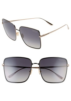 Tom Ford Heather 60mm Polarized Flat Front Square Sunglasses