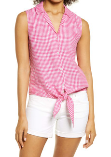 Tommy Bahama Gingham Check Linen Tie Front Top