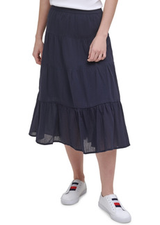 Tommy Hilfiger Cotton Tiered Midi Skirt