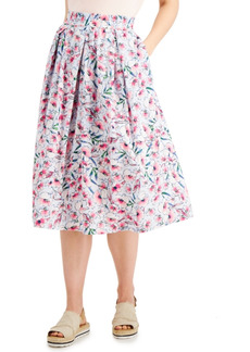 Tommy Hilfiger Floral-Print Cotton Midi Skirt