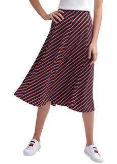 Tommy Hilfiger Striped A-Line Midi Skirt