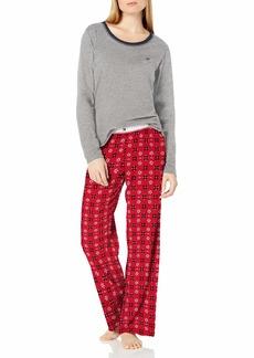 Tommy Hilfiger Women's Top Pant and Short 3 Piece Cotton Pajama Lounge Set  L