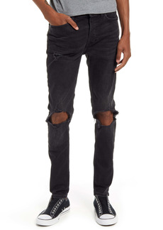 Topman Blowout Ripped Skinny Jeans (Washed Black)