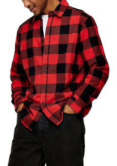 Topman Buffalo Check Slim Fit Flannel Button-Up Shirt