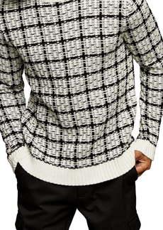 Topman Check Crewneck Sweater