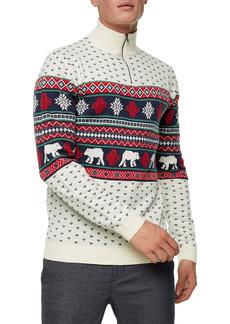 Topman Christmas Fair Isle Quarter Zip Mock Neck Sweater