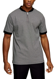Topman Classic Fit Houndstooth Check Quarter Zip Polo