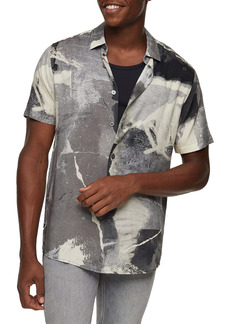 Topman Concrete Print Short Sleeve Button-Up Shirt
