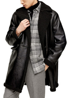 Topman Double Breasted Faux Leather & Faux Shearling Coat