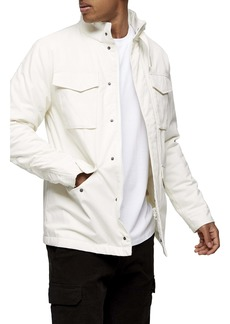 Topman Ecru Four-Pocket Classic Fit Cotton Hooded Jacket